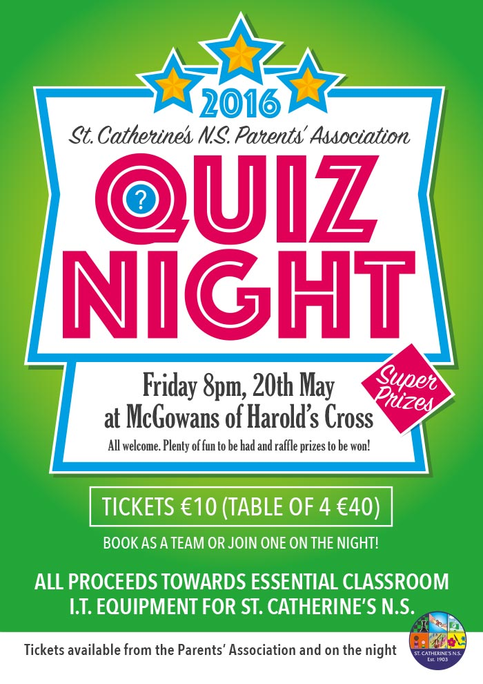 19-05-2016 PA – St  Catherine's Quiz Night Tomorrow